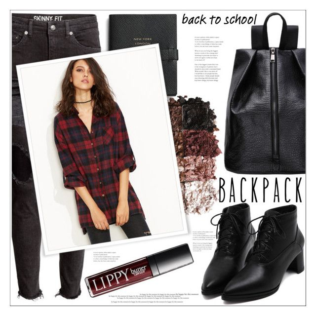 """""""Back to School"""" by mycherryblossom ❤ liked on Polyvore featuring Smythson, LORAC, backpacks, contestentry and PVStyleInsiderContest"""