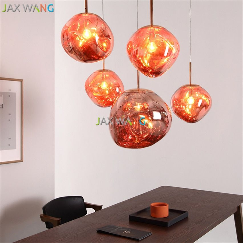 Modern D30 40cm Tom Dixon Melt Pendant Lights Glass Lava Irregular Silver Gold Copper Mirror Hang Lam Pendant Light Rustic Pendant Lighting Glass Pendant Light