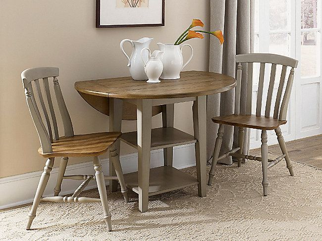 Al Fresco 42 Round Drop Leaf Table With 2 Side Chairs Small