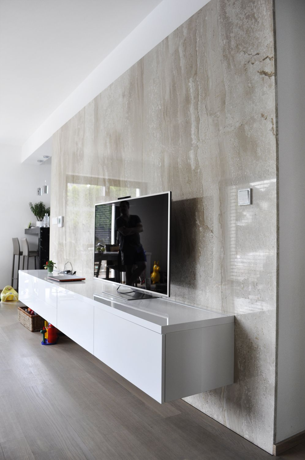 Wall Tv Unit Design Tv Unit: TV Wall - Marble Panels, Led Light Integrated