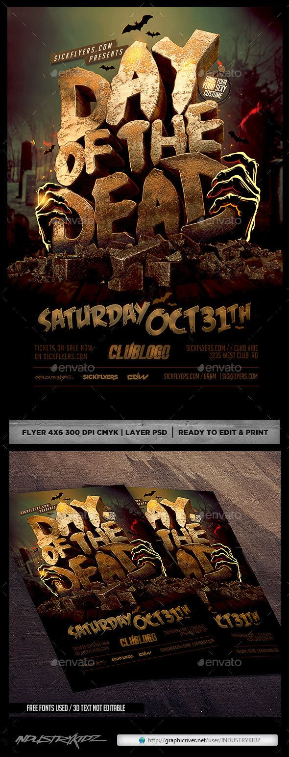 Day Of Dead Flyer Template  — PSD Template #halloween #october • Download ➝ https://graphicriver.net/item/day-of-dead-flyer-template/18338376?ref=pxcr