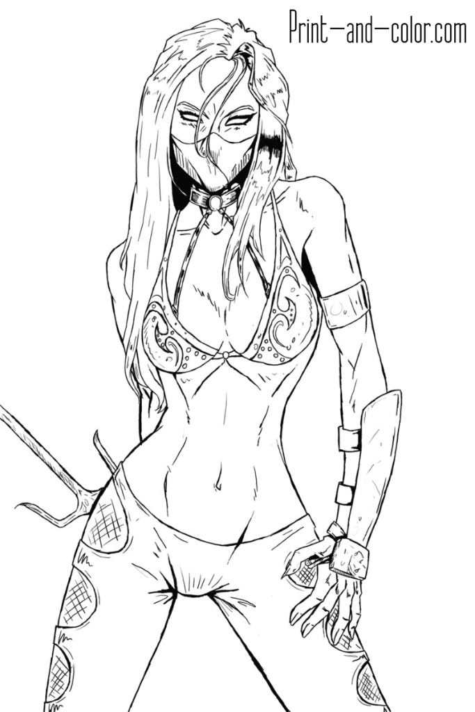 Mortal Kombat Coloring Page Mileena 2 Mortal Kombat Art Mortal Kombat Street Fighter Art