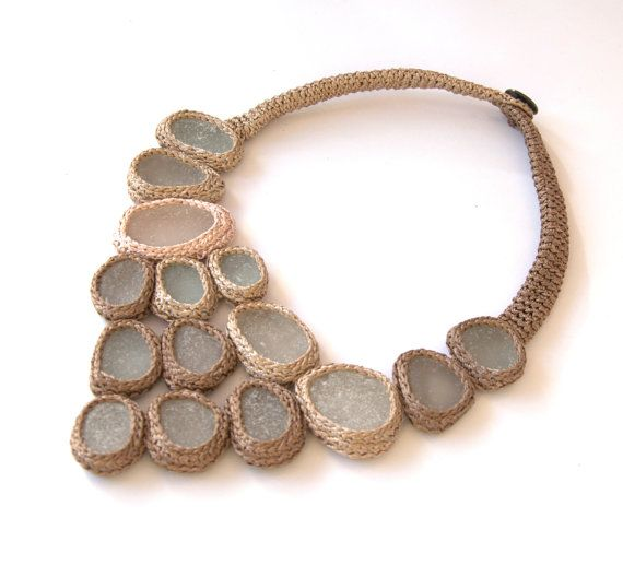 Statement bib necklace with 15 sea glass Weddings beige by astash, $135.00