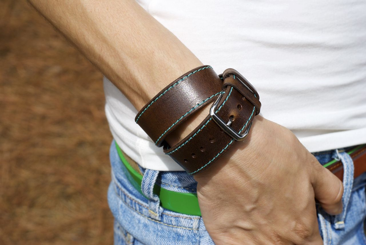 c45e47f1f7b Leather Double Tour Apple Watch Band made from Chestnut color of leather  with Turquoise thread. Incredible combination
