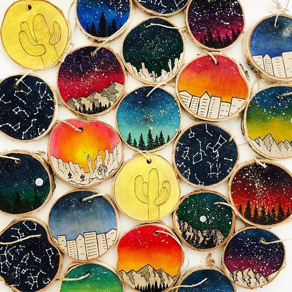 Galaxy Ornaments, Wood Slice Ornament, Rustic Wood Slice Ornament, Christmas, Mountains, Outer Space, Sunset, Desert, City, Cactus, Star Map,How To Produce Wood Art ? Wood art is typically the task of surrounding around and inside, so long as the top of anything is flat. Probably the most l..., #Cactus #Christmas #city #desert #Galaxy