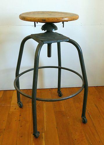 Wood Drafting Stool vintage industrial metal swivel drafting stool wood seat retro