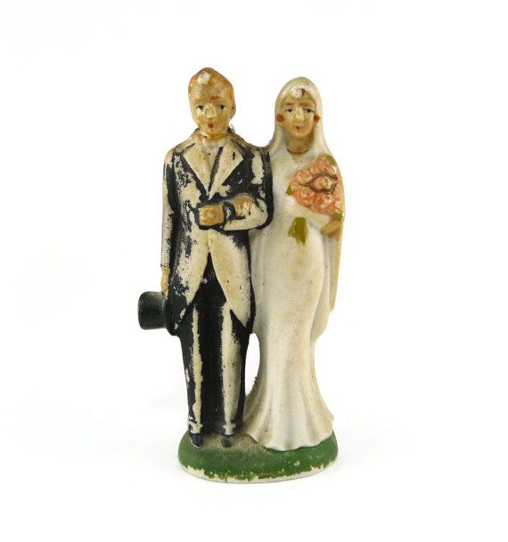 Bisque wedding cake topper antique bride and by reconstitutions.etys.com, $43.50 #caketopper #vintage #wedding