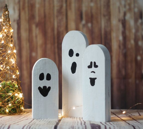 Halloween Ghosts, Rustic Halloween Decor, Primitive Ghost, Wooden - halloween decorations com