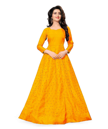 adbf3c26a0 This is an eye catching yellow color semi stitched long gown and the  material is premium quality banglori satin silk and it has a shiny  finishing.