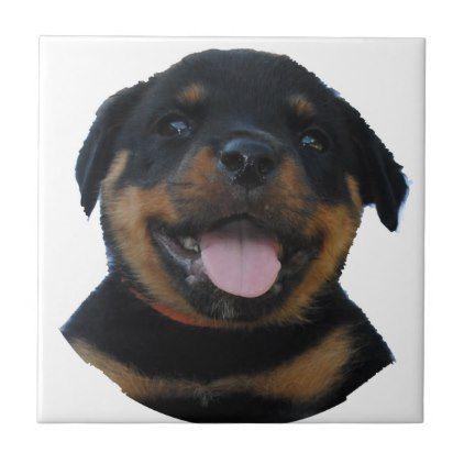 Happy Male Rottweiler Puppy Ceramic Tile Rottweiler Rottweiler