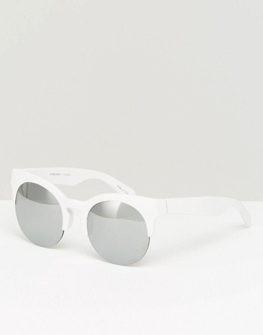 77366e5af9ff52 Image 1 - Pieces - Lunettes de soleil ronde yeux de chat à verres miroir