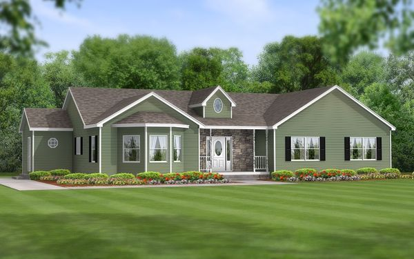 One story ranch style house with 3 car garage on the side for Ranch style house with garage