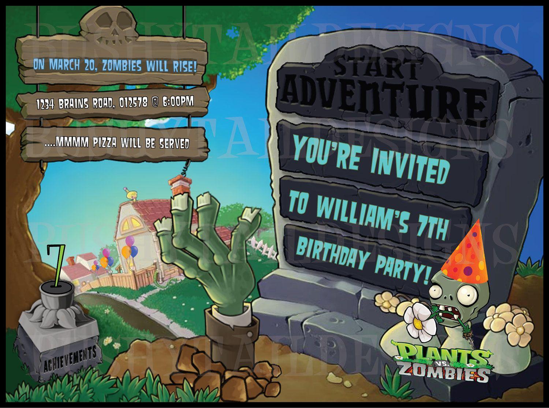 Plants Vs Zombies Birthday Invitation And Thank You Card Etsy Zombie Birthday Zombie Birthday Parties Plants Vs Zombies