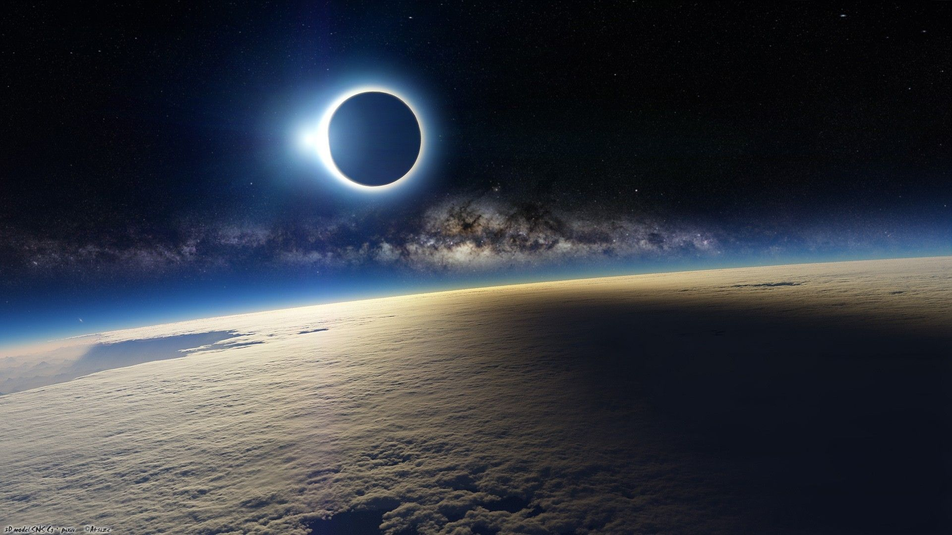 Wallpaper eclipse of sun over planet atmosphere free desktop ...