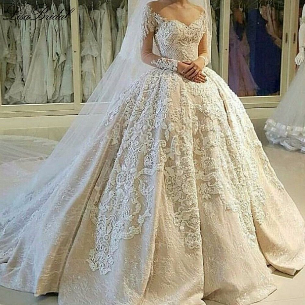 Elegant long wedding dress oneck long sleeves ball gown chapel