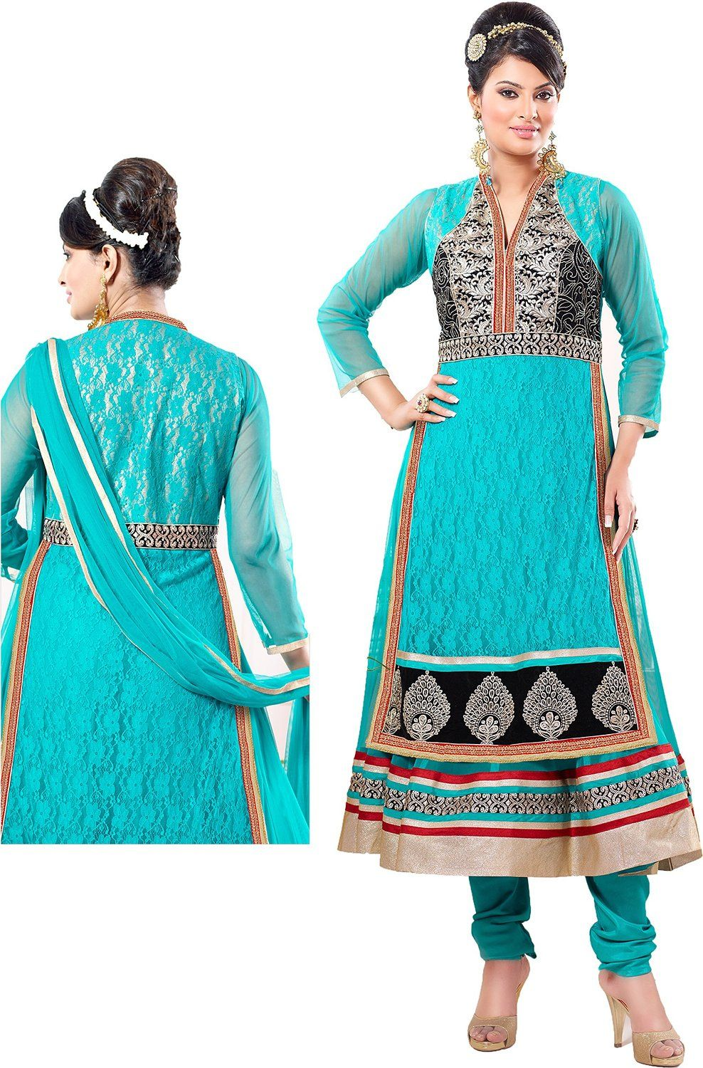 chakudee by blue net drees material: Amazon.in: Clothing ...