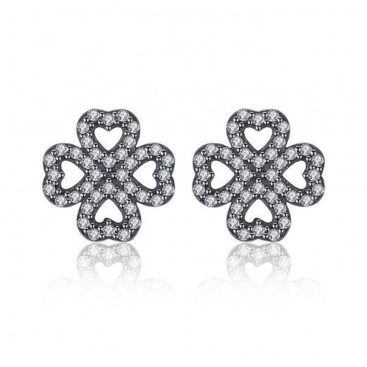 dc4c9ec2c 925 Sterling Silver 4 Leaf Clover Cubic Zirconia Stud Earrings Jewellery  Gift