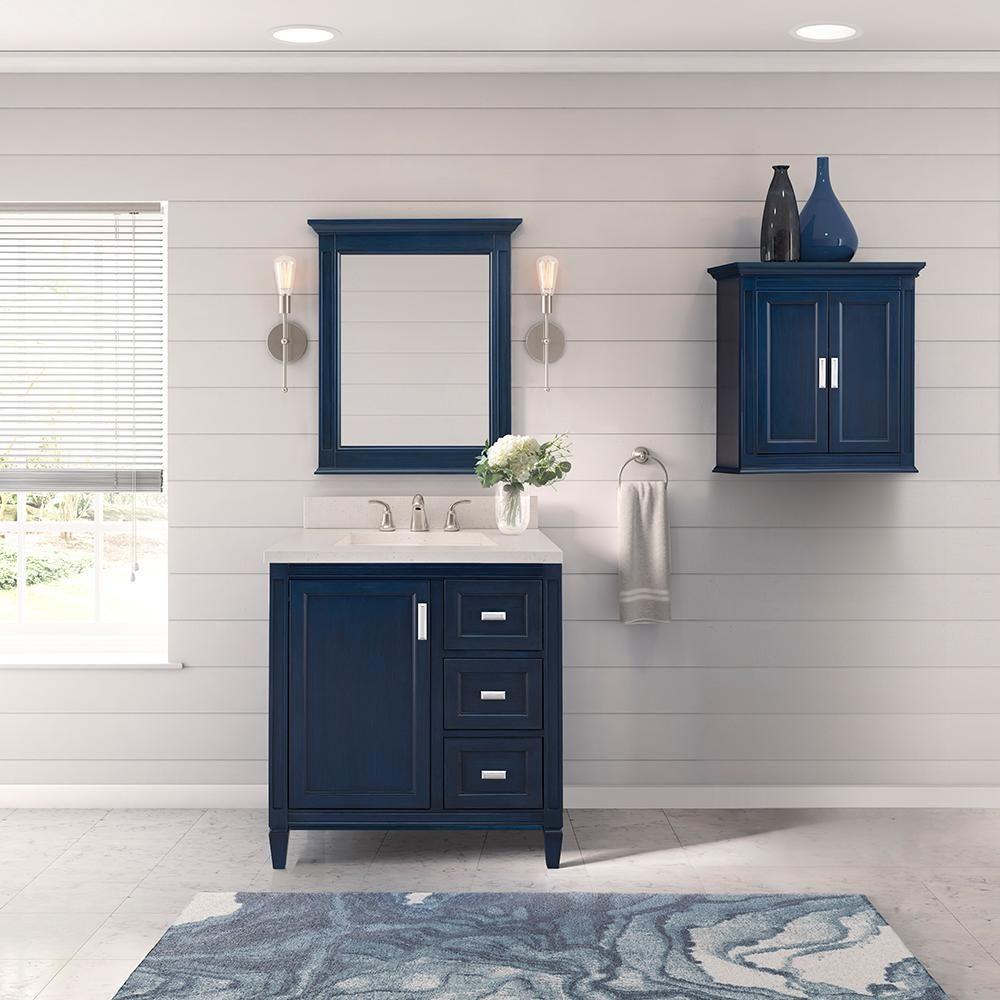 Pin By Arianne Reagor On Small Bathroom Remodel In 2020 Navy Blue Bathroom Walls Blue Bathroom Vanity Blue Bathroom Walls