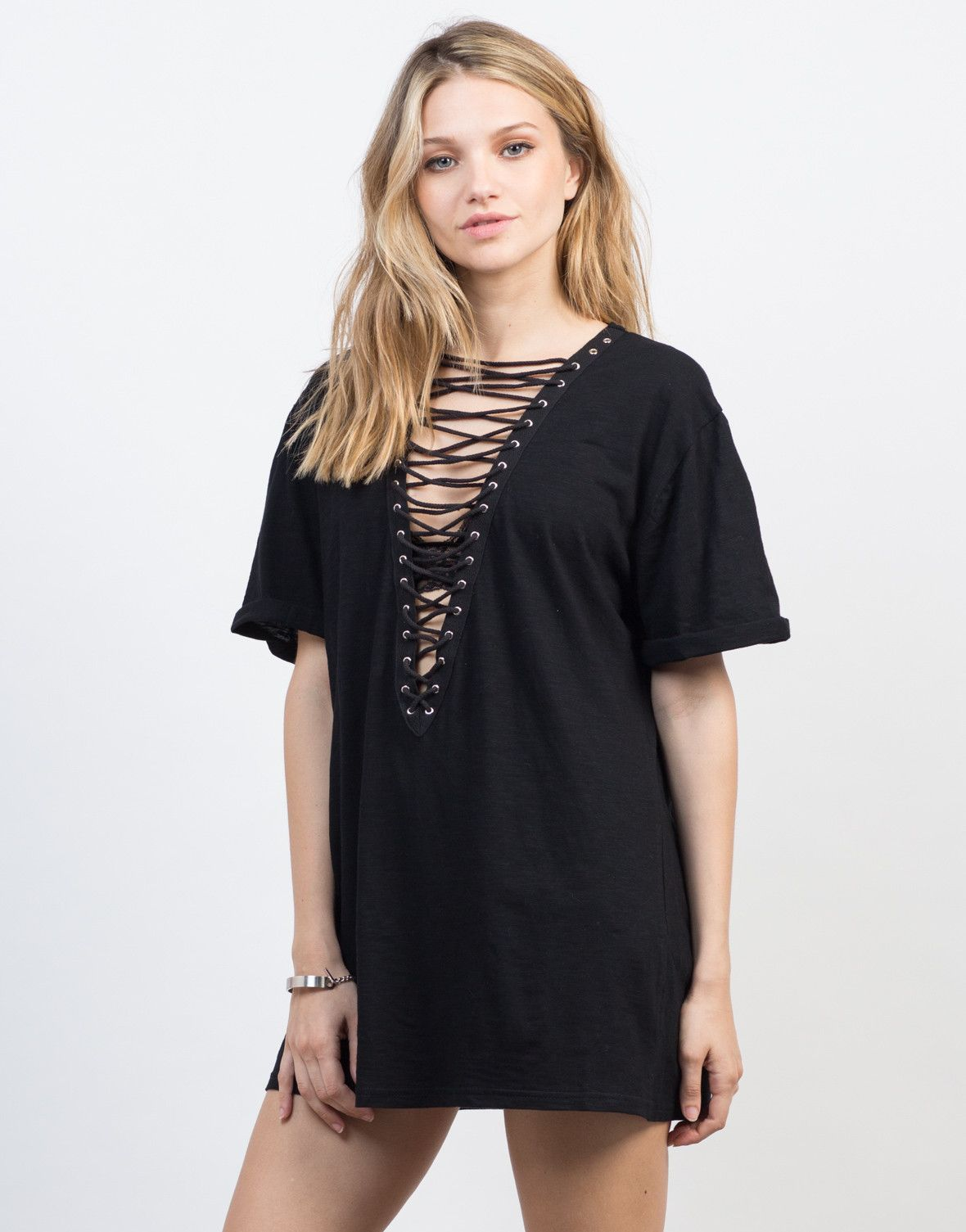 561dd92fa2 Deep V is key. This Lace-Up Deep V Tee will keep you comfy from day to  night with it s cotton fabric.