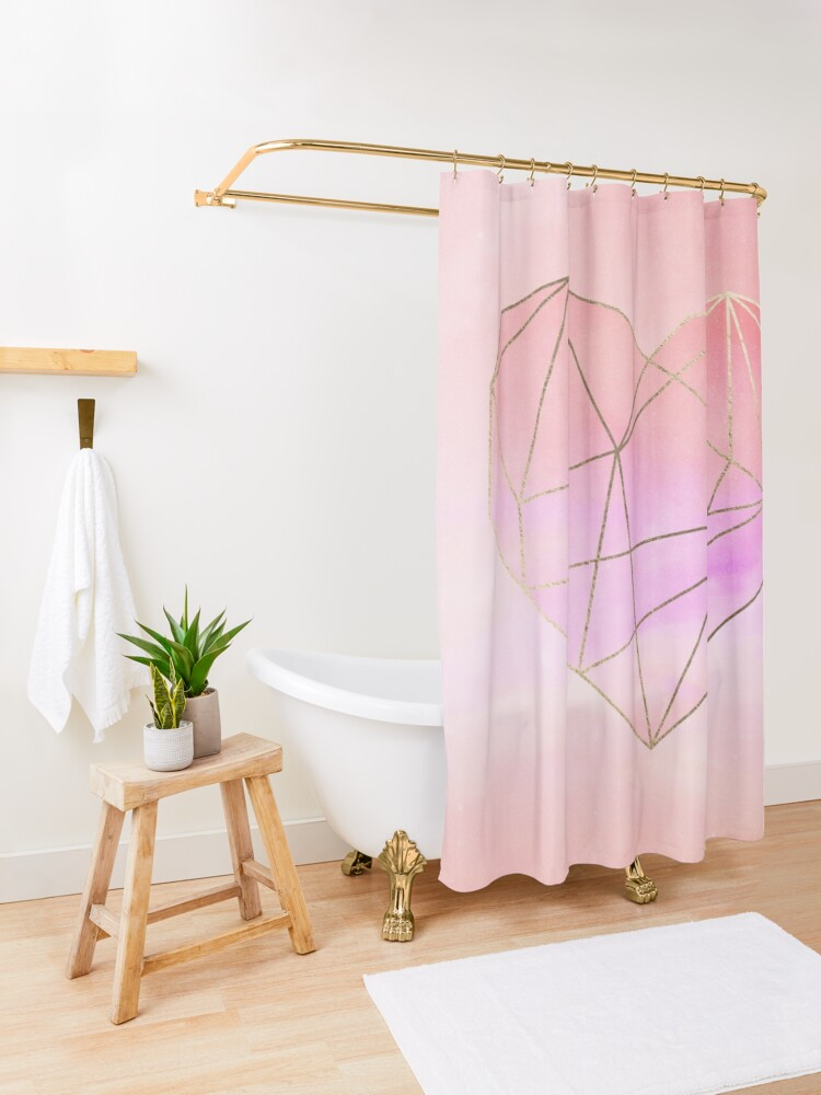Planet Heart Pink Pastel Sky Love Shower Curtain In 2020