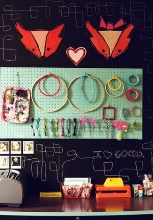 I love the blackboard wall and metal board. by mariana