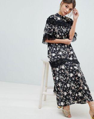 9f3b32c9a88c6 Liquorish Floral Maxi Dress With Lace Trim And Open Back | Clothes ...