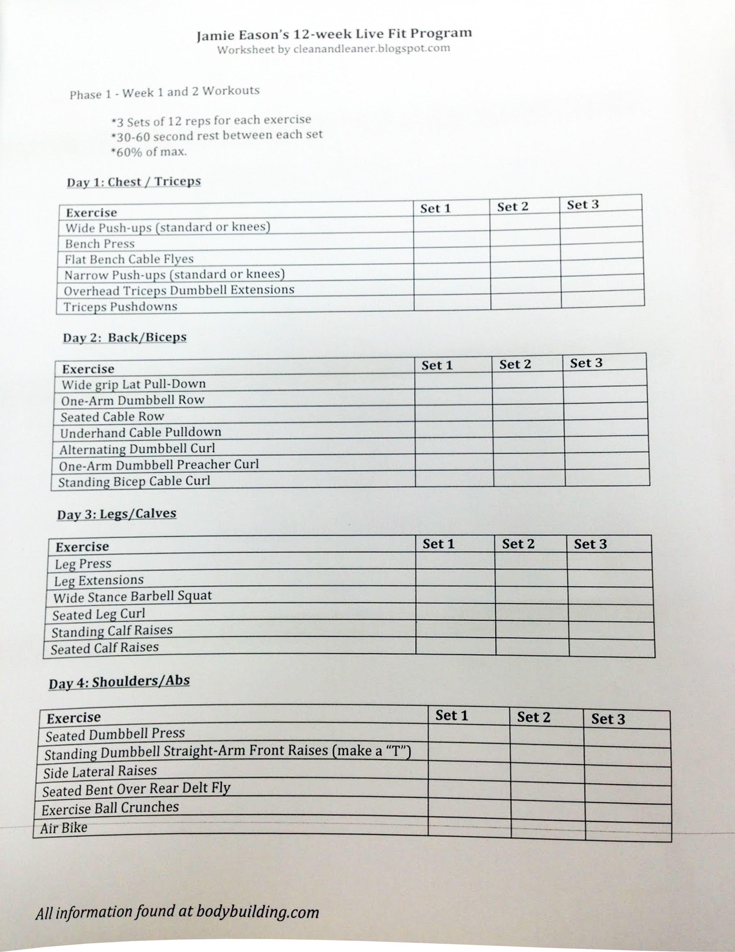 Jamie Eason S 12 Week Live Fit Program Exercise Worksheet