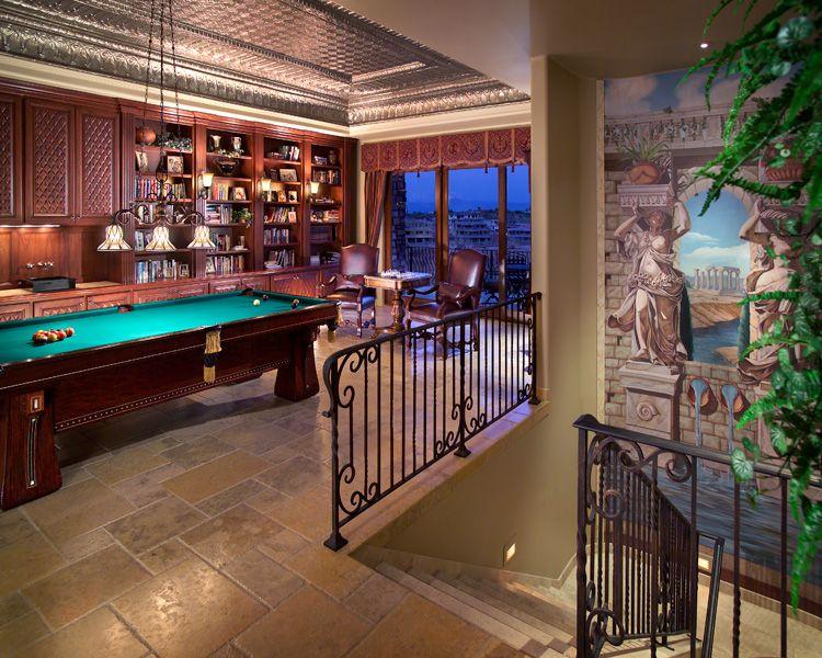 game room with bar trompe l 39 oeil mural at stair landing janet brooks design scottsdale. Black Bedroom Furniture Sets. Home Design Ideas