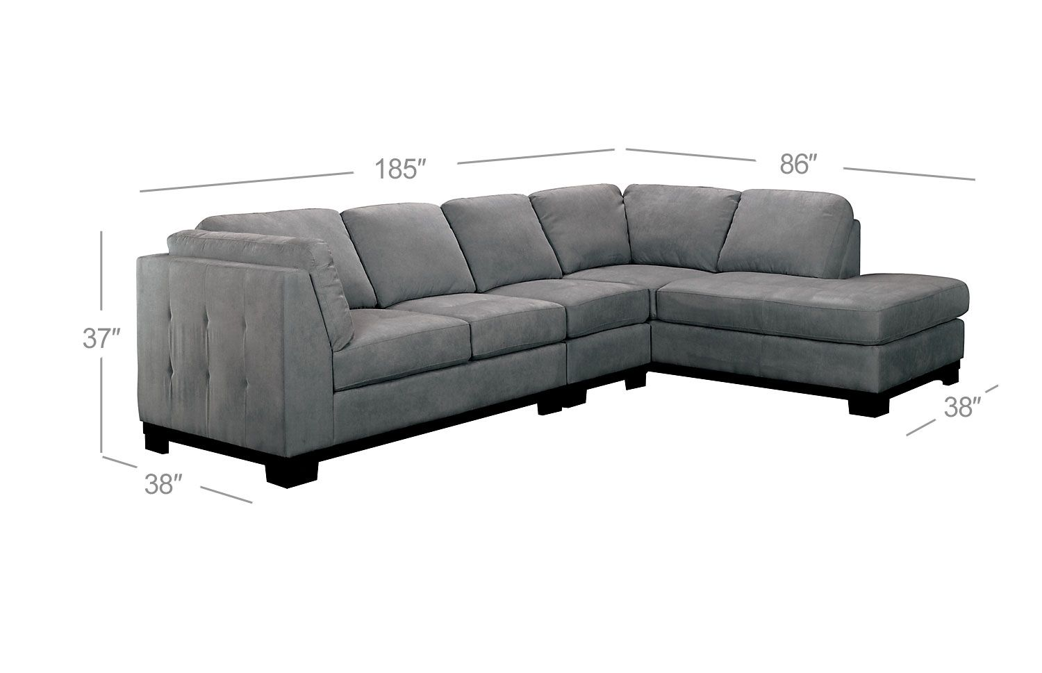 Oakdale 3piece microsuede sectional wrightfacing chaise