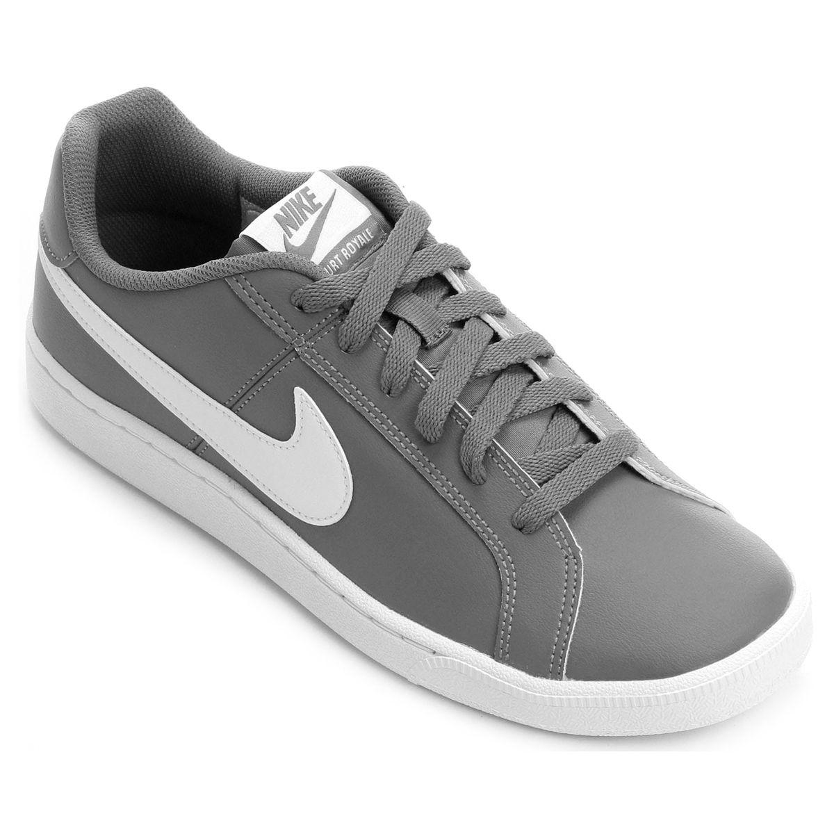 a41e03594 Tênis Couro Nike Court Royale Masculino - Cinza e Branco em 2019 ...