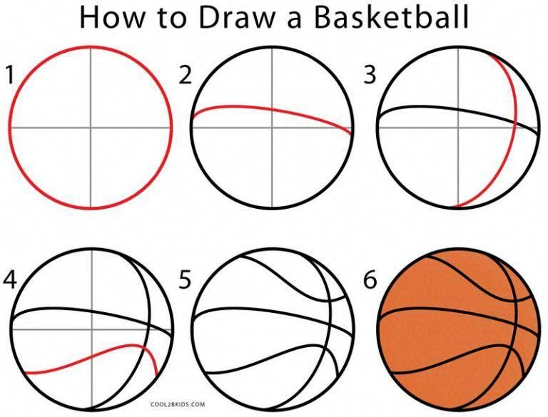 How To Draw A Basketball Step By Step Basketballgamesforkids Ball Drawing Basketball Crafts Diy Basketball