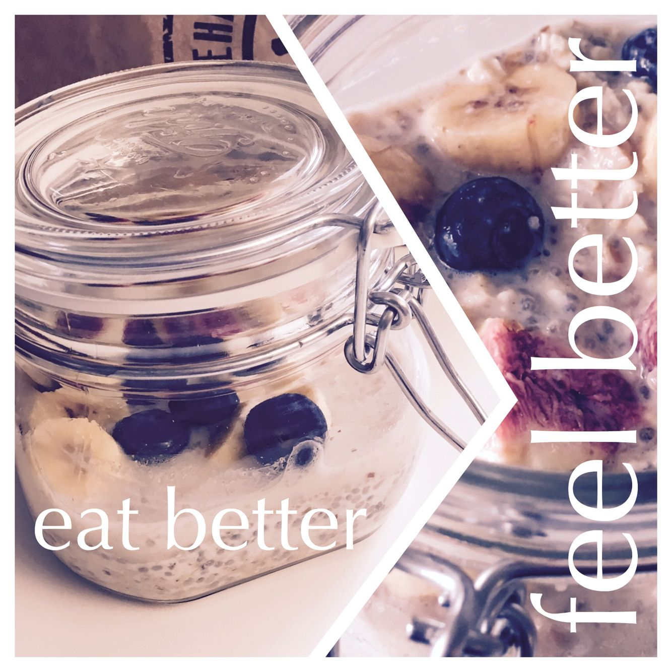 Overnight oats with chia, almond-milk and agave syrup. Topping: fresh banana, figs and blueberry