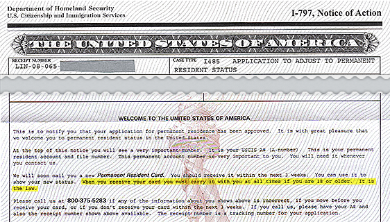 Received Notice Of Action Form I 797 From Uscis To The Uscis When A