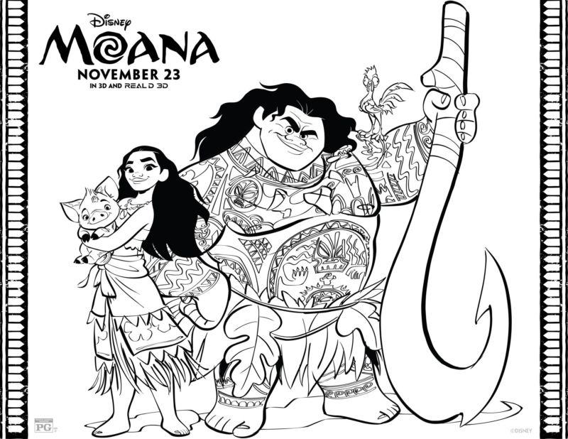 FREE Moana Coloring Pages Set – Free Party Printables