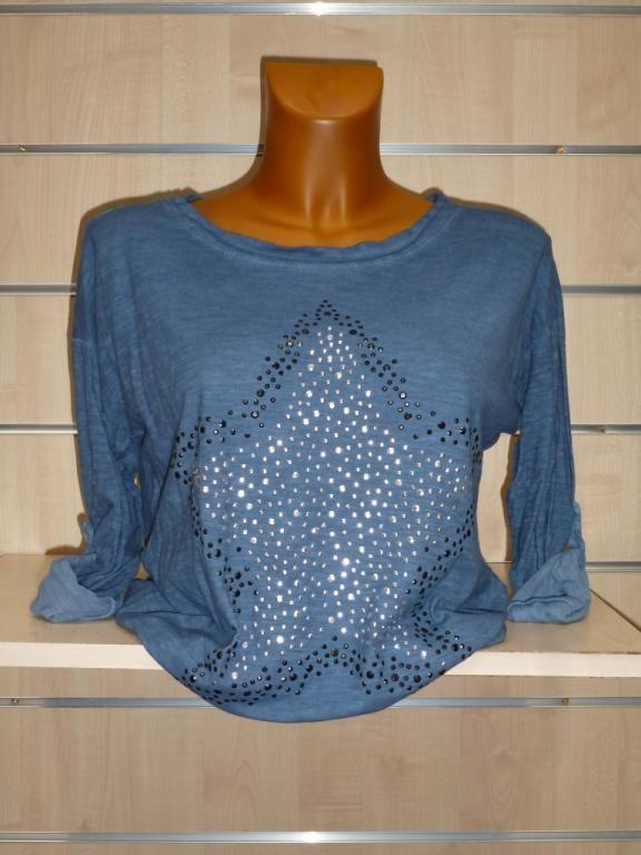Tee-shirt étoile strass bleu