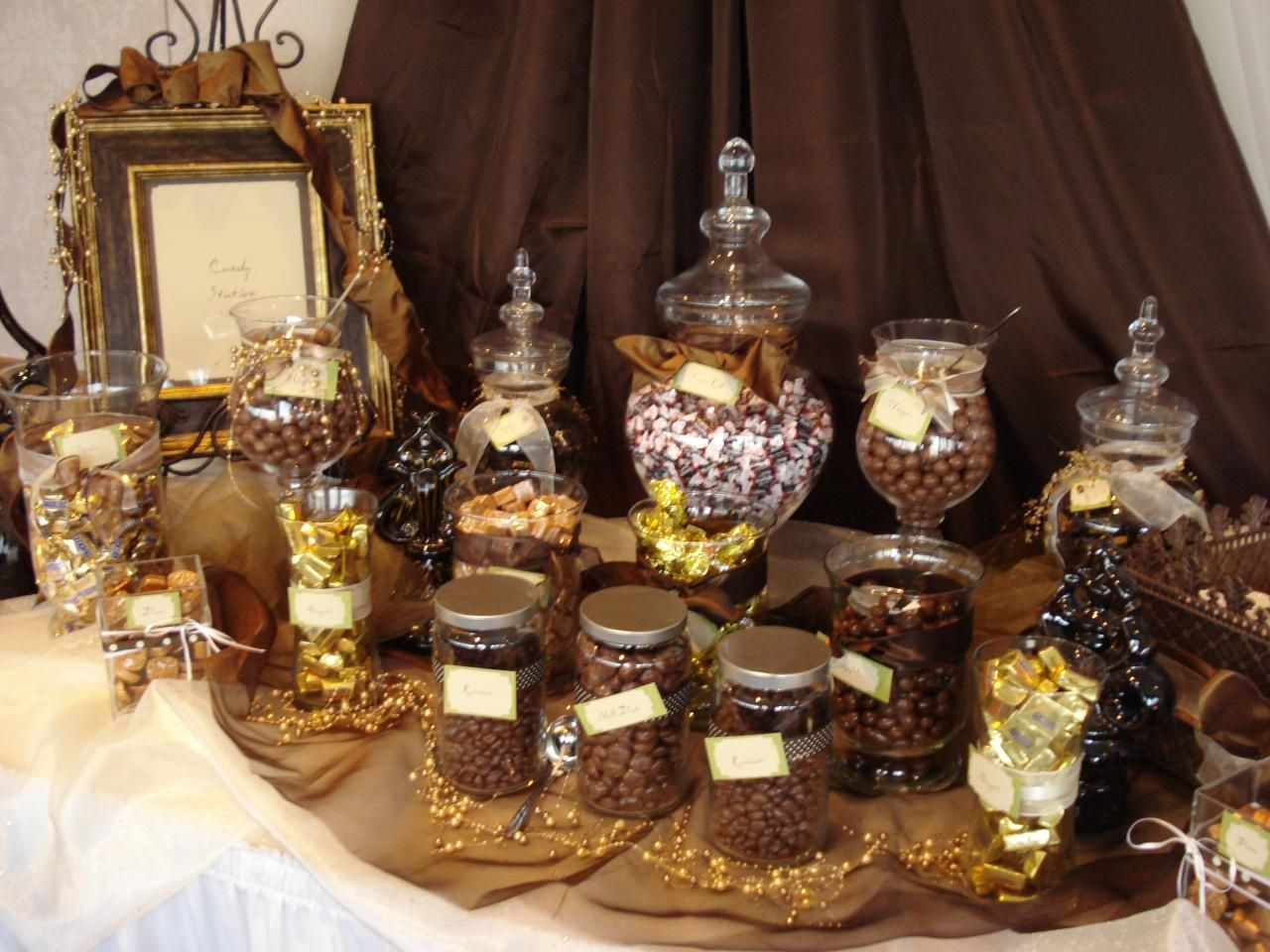 Chocolate Candy Buffet in Brown + Gold - Cream, Gold And Brown Chocolate Buffet Wedding Party Ideas