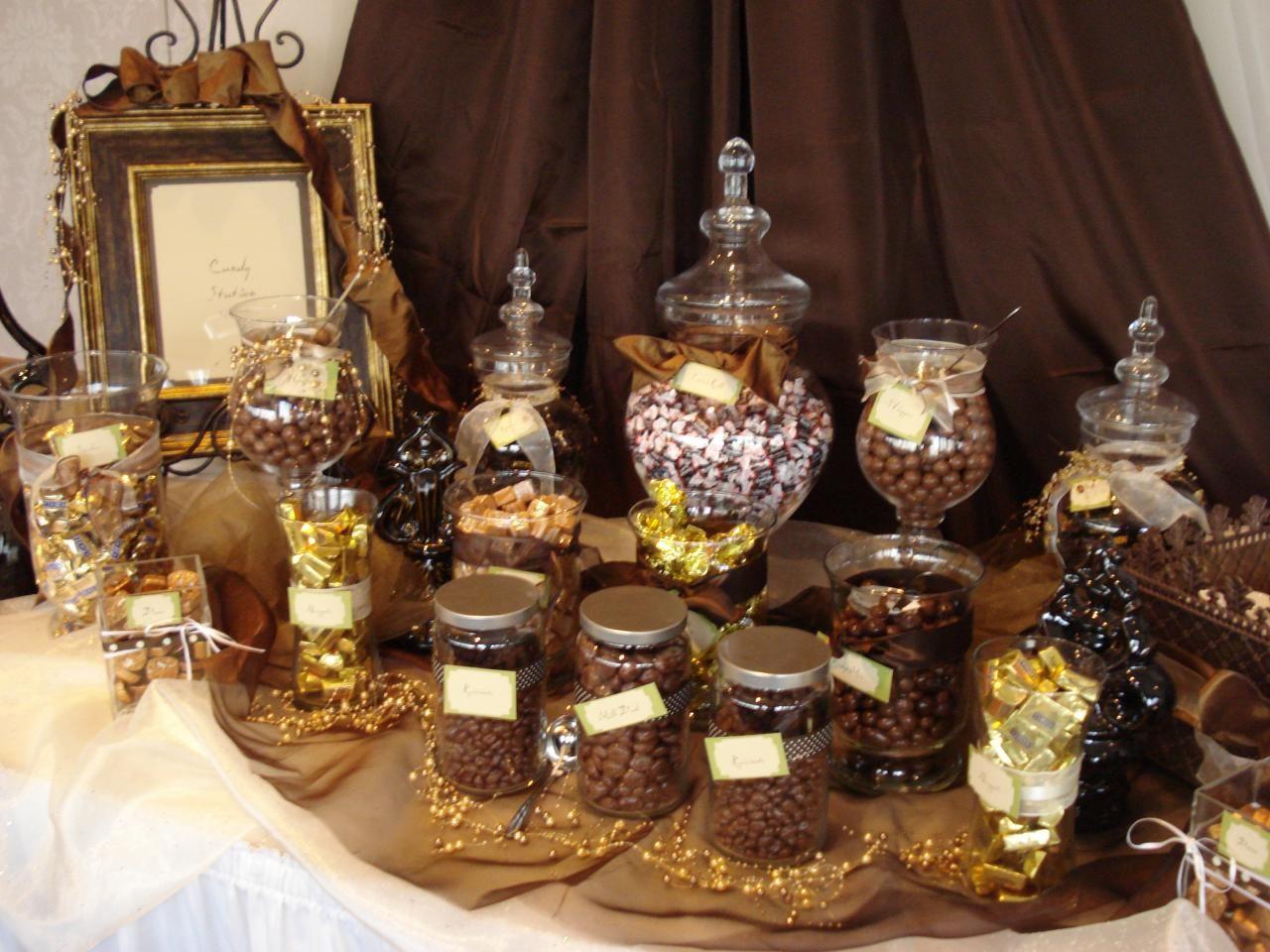 Halloween candy buffet idea - Chocolate Candy Buffet In Brown Gold