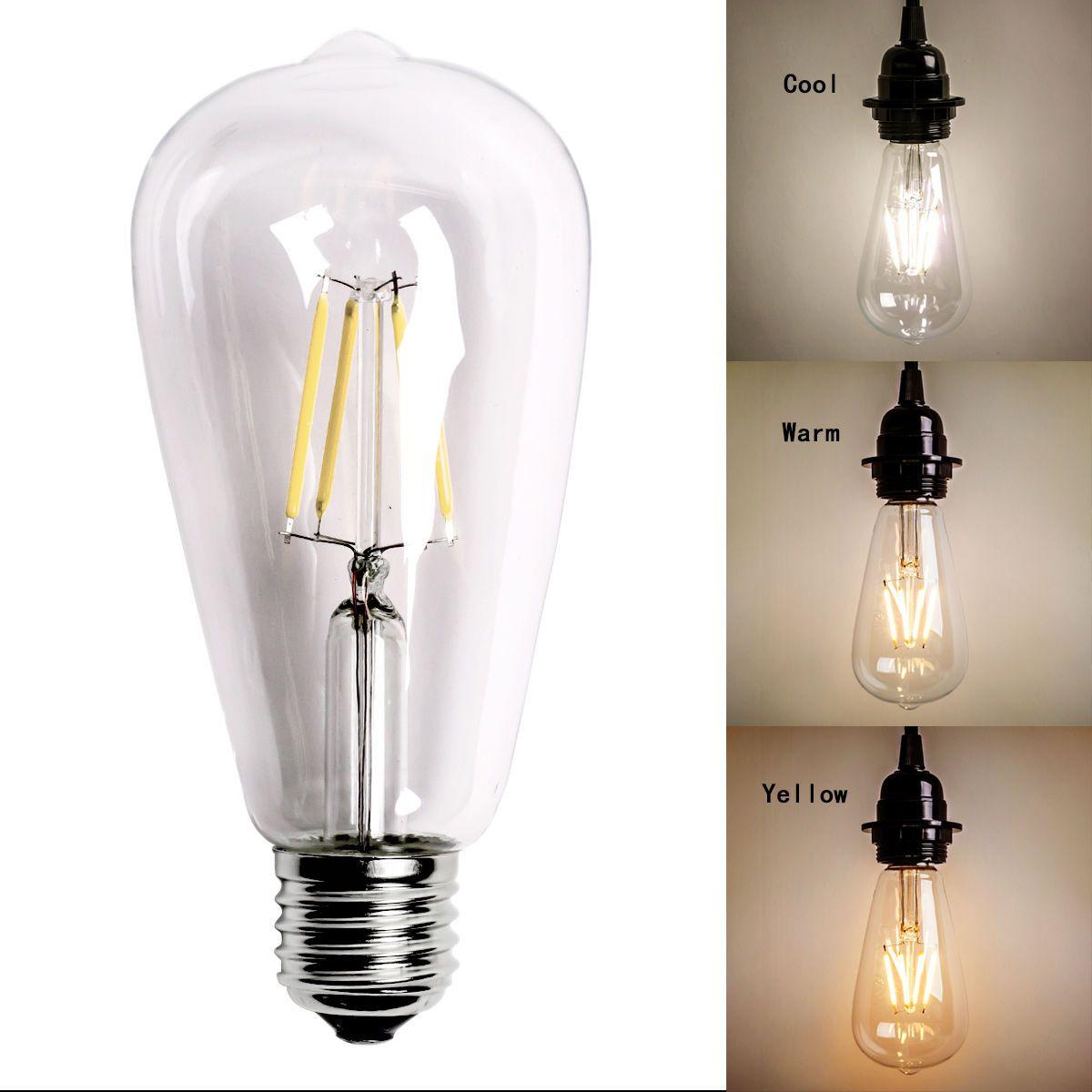 Vintage Edison E27 E26 Screw Led Filament Light Useful Bulb St64 2 Types Ebay Filament Bulb Lighting Vintage Led Bulbs Vintage Edison Bulbs