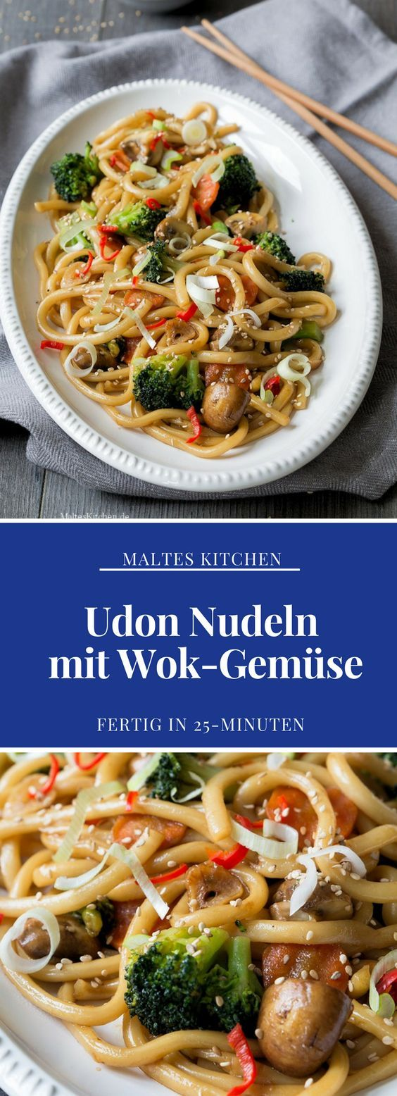 Würzige Udon Nudeln aus dem Wok mit Gemüse