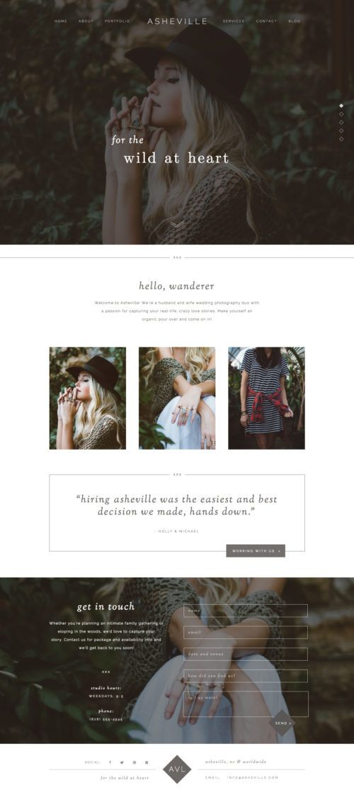 Showit Premium Free Photography Website Templates Dark And - Free photography website templates
