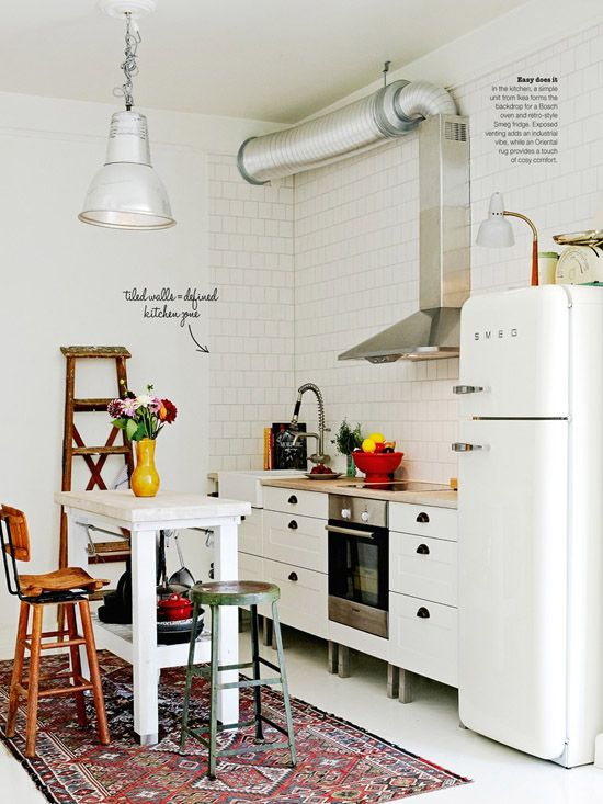 Small kitchen and oriental rug.