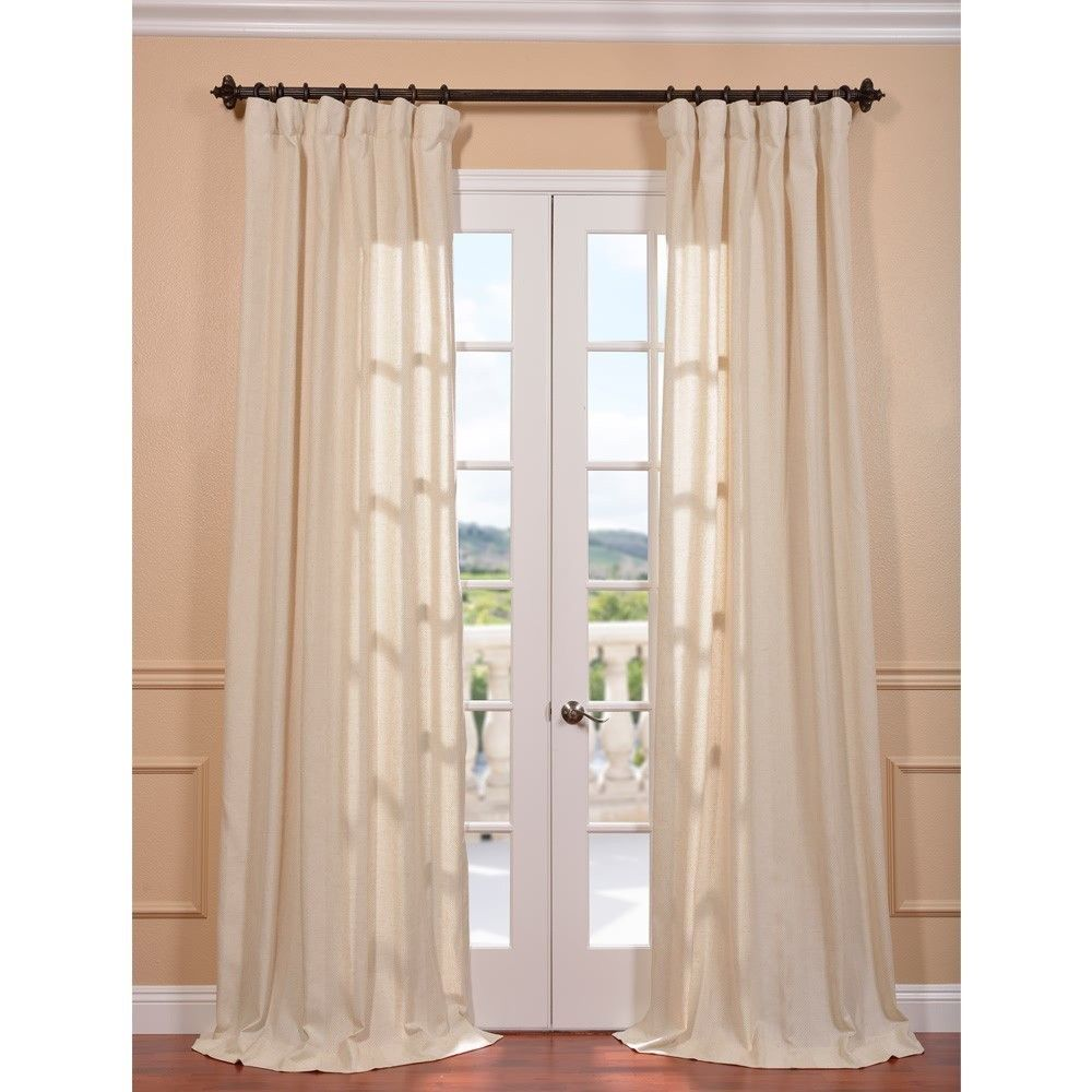 Curtain pair overstock shopping great deals on lights out curtains - Exclusive Fabrics Lanai Natural Linen Blend Herringbone Curtain Panel By Exclusive Fabrics