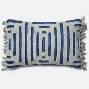 Loloi Handwoven Indigo Blue Cut Out Lumbar Pillow