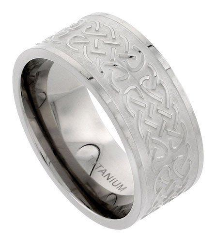 Titanium 10mm Flat Wedding Band Ring Polished Celtic Knot