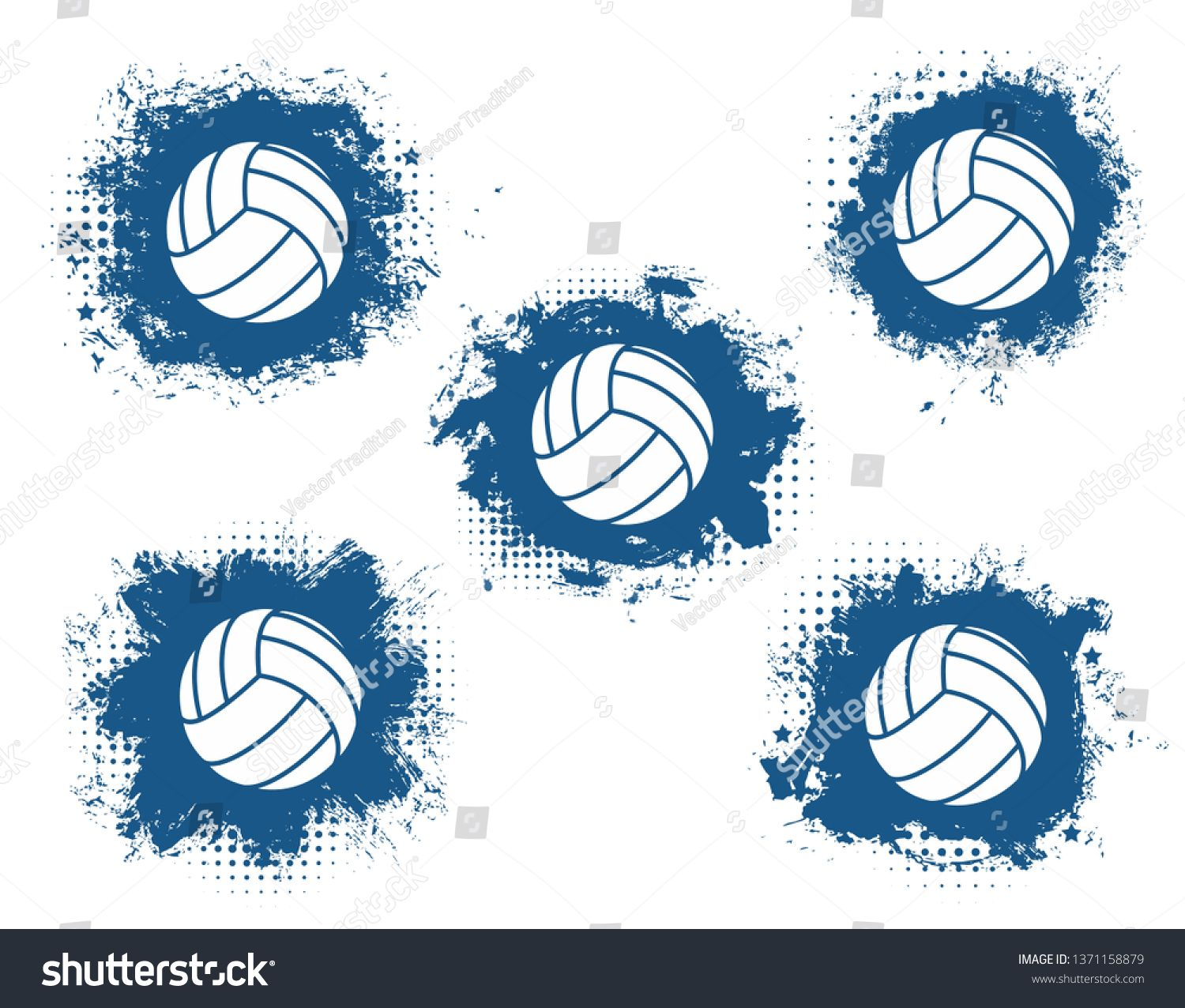Volleyball Balls Grunge Vector Icons With Blue Halftone Sport Game Equipment Team Player Sporting Items Isolated Sym Art Logo Vector Icons Illustration Design
