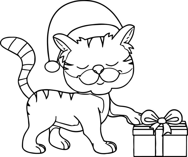 Happy Cat Wearing Christmas Hat Taking Gift Coloring Page Cat Coloring Page Christmas Hat Christmas Coloring Pages