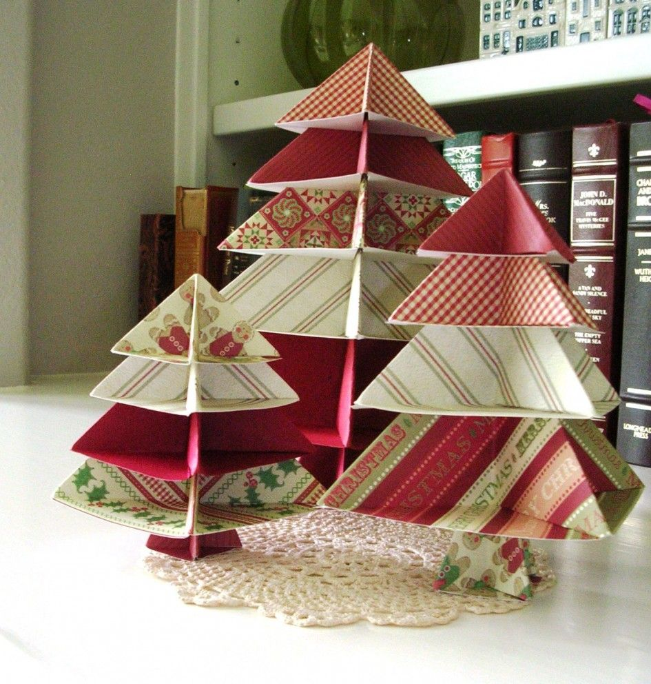 Paper Christmas Tree Ornaments Decoration Ideas Minimalist White Bookshelves With Creative