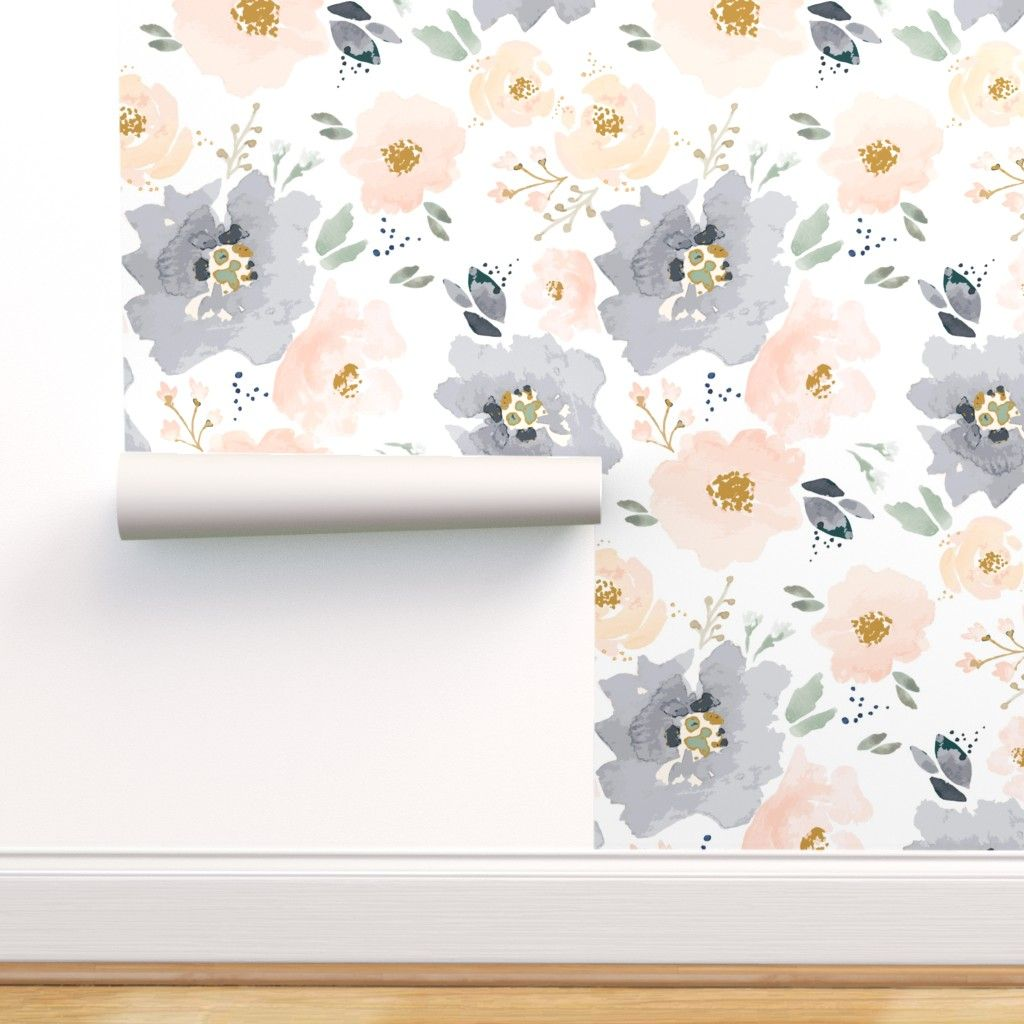 Peel And Stick Removable Wallpaper Floral Peach Navy Walmart Com Peel And Stick Wallpaper Removable Wallpaper Floral Wallpaper