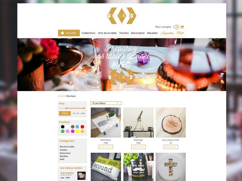 Théme Dekoration - Shop - Woocommerce by sophie rousseau #web #design #ui #responsive #siteweb #ux #wordpress #carousel #ecommerce #icon #webdesign #woocommerce