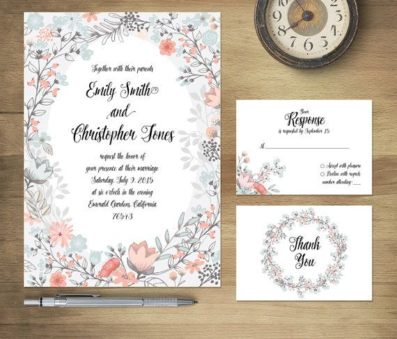 Printable Wedding Invitation Suite floral wedding invite spring/summer floral wedding set calligraphy, DIY digital invitation set
